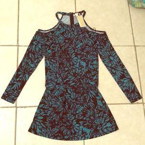 NWT Michael Kors turquoise cold shoulder dress med